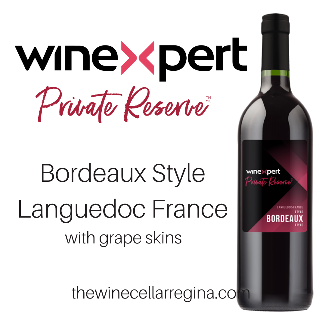 Private Reserve Bordeaux Style Langeudoc France Wine Kit with grape skins.