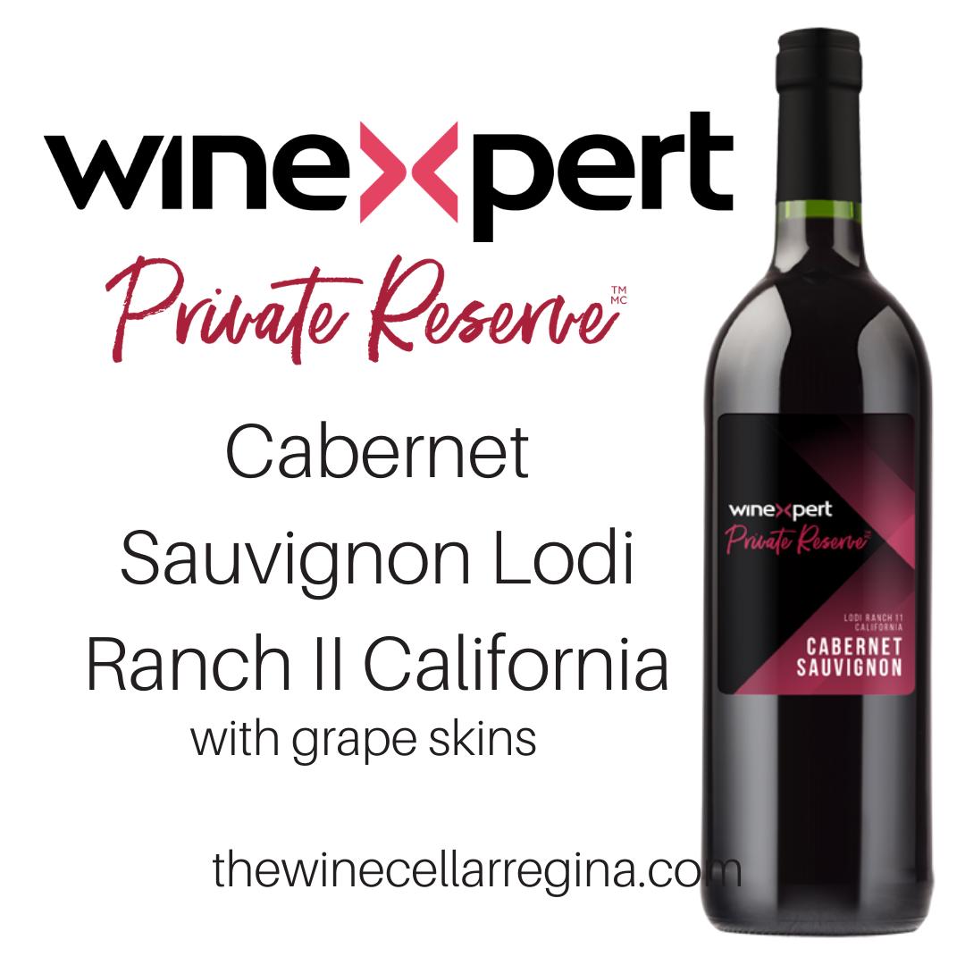Private Reserve Cabernet Sauvignon Lodi Ranch II California Wine Kit with grape skins.